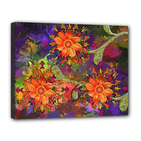 Abstract Flowers Floral Decorative Canvas 14  X 11