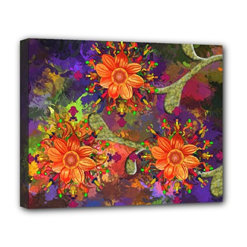 Abstract Flowers Floral Decorative Deluxe Canvas 20  X 16