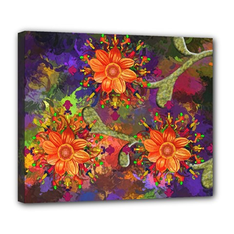 Abstract Flowers Floral Decorative Deluxe Canvas 24  X 20