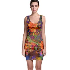 Abstract Flowers Floral Decorative Sleeveless Bodycon Dress