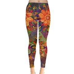 Abstract Flowers Floral Decorative Leggings