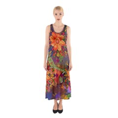 Abstract Flowers Floral Decorative Sleeveless Maxi Dress