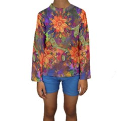 Abstract Flowers Floral Decorative Kids  Long Sleeve Swimwear