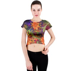 Abstract Flowers Floral Decorative Crew Neck Crop Top