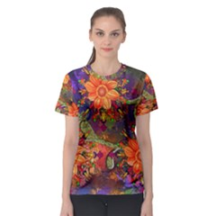 Abstract Flowers Floral Decorative Women s Sport Mesh Tee