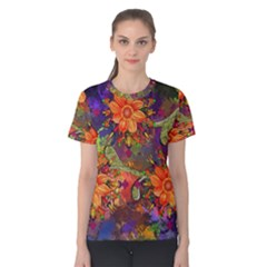 Abstract Flowers Floral Decorative Women s Cotton Tee