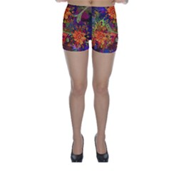 Abstract Flowers Floral Decorative Skinny Shorts