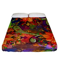 Abstract Flowers Floral Decorative Fitted Sheet (queen Size)