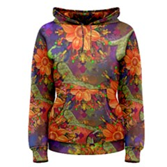 Abstract Flowers Floral Decorative Women s Pullover Hoodie