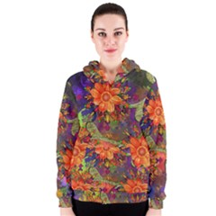 Abstract Flowers Floral Decorative Women s Zipper Hoodie