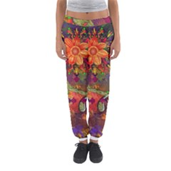 Abstract Flowers Floral Decorative Women s Jogger Sweatpants