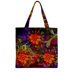 Abstract Flowers Floral Decorative Zipper Grocery Tote Bag