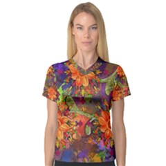 Abstract Flowers Floral Decorative Women s V Neck Sport Mesh Tee