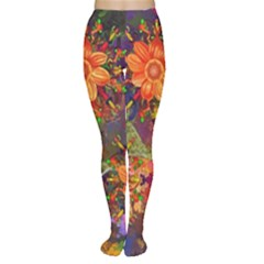 Abstract Flowers Floral Decorative Women s Tights