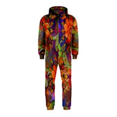 Abstract Flowers Floral Decorative Hooded Jumpsuit (kids)