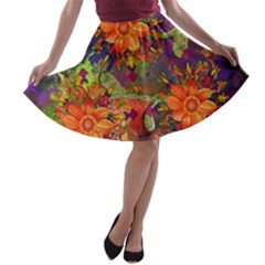 Abstract Flowers Floral Decorative A Line Skater Skirt