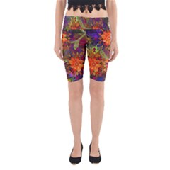 Abstract Flowers Floral Decorative Yoga Cropped Leggings