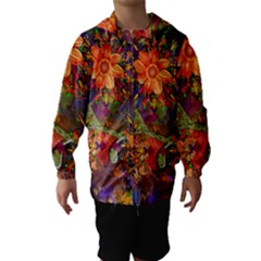 Abstract Flowers Floral Decorative Hooded Wind Breaker (kids)