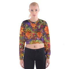 Abstract Flowers Floral Decorative Women s Cropped Sweatshirt
