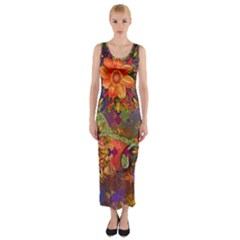 Abstract Flowers Floral Decorative Fitted Maxi Dress
