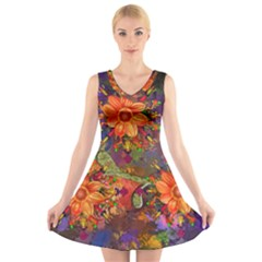 Abstract Flowers Floral Decorative V Neck Sleeveless Skater Dress