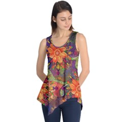Abstract Flowers Floral Decorative Sleeveless Tunic