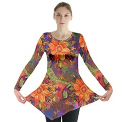 Abstract Flowers Floral Decorative Long Sleeve Tunic