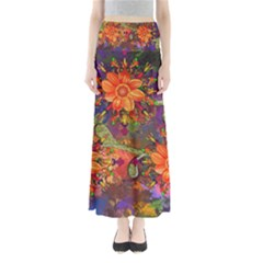 Abstract Flowers Floral Decorative Maxi Skirts