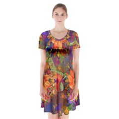 Abstract Flowers Floral Decorative Short Sleeve V Neck Flare Dress