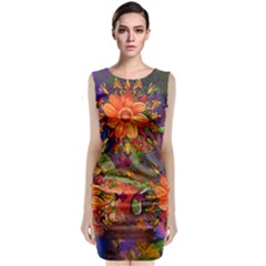 Abstract Flowers Floral Decorative Classic Sleeveless Midi Dress