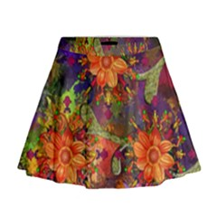 Abstract Flowers Floral Decorative Mini Flare Skirt