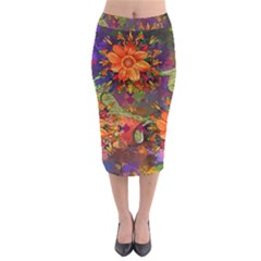 Abstract Flowers Floral Decorative Midi Pencil Skirt