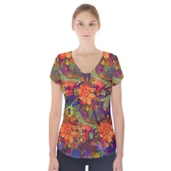 Abstract Flowers Floral Decorative Short Sleeve Front Detail Top
