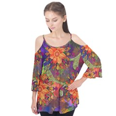 Abstract Flowers Floral Decorative Flutter Tees
