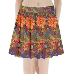 Abstract Flowers Floral Decorative Pleated Mini Skirt