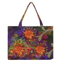 Abstract Flowers Floral Decorative Medium Zipper Tote Bag