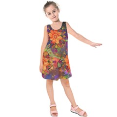 Abstract Flowers Floral Decorative Kids  Sleeveless Dress