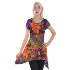 Abstract Flowers Floral Decorative Short Sleeve Side Drop Tunic