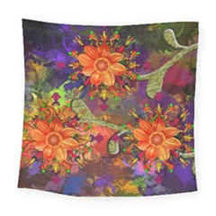 Abstract Flowers Floral Decorative Square Tapestry (large)