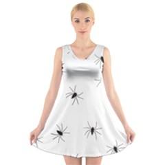 Animals Arachnophobia Seamless V Neck Sleeveless Skater Dress