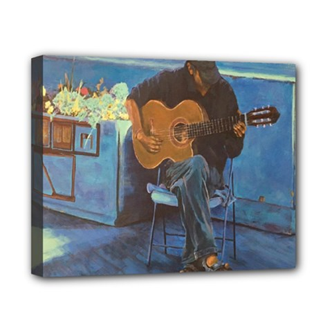 Man And His Guitar Canvas 10  X 8