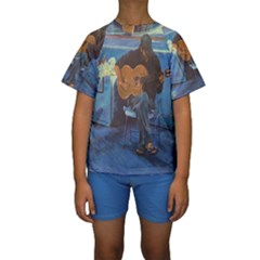 Man And His Guitar Kids  Short Sleeve Swimwear