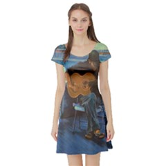 Man And His Guitar Short Sleeve Skater Dress
