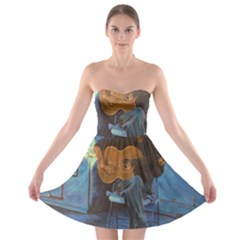 Man And His Guitar Strapless Bra Top Dress