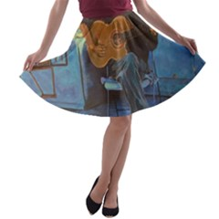 Man And His Guitar A Line Skater Skirt