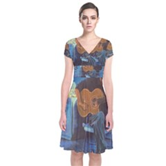 Man And His Guitar Short Sleeve Front Wrap Dress