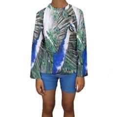 Animal Photography Peacock Bird Kids  Long Sleeve Swimwear