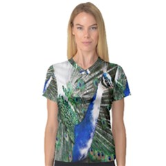 Animal Photography Peacock Bird Women s V Neck Sport Mesh Tee