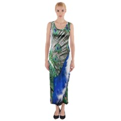 Animal Photography Peacock Bird Fitted Maxi Dress