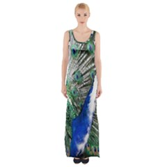 Animal Photography Peacock Bird Maxi Thigh Split Dress